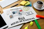M&A (MERGERS AND ACQUISITIONS) Mergers & Acquisitions Businessman working at office M&A poster