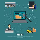 Logistics and freight shipment flowchart vector illustration. Services operator coordinating cargo transportation. Warehouse, logistics manager, freight commercial truck, laptop with delivery map icon poster