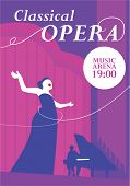 Classical opera poster. Opera singer singing on musical arena stage, pianist plays the piano vector illustration. For classical music live concert, music festival advertising flyer, ticket or banner poster