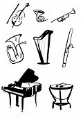 Classical symphony orchestra musical instruments set. Violin with bow, timpani, trumpet, horn, tuba, piano, harp, bassoon hand drawn line vector illustrations isolated on white background poster