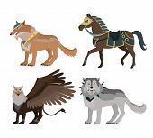 Fantastic battle riding animals vector in flat style design. Fairy predator beasts in armor model illustration for games industry concepts, icons and pictograms. Isolated on white background. poster
