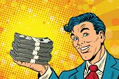 Financial success businessman with money, pop art retro comic book illustration. Lottery and cash prize poster