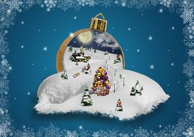 Wonderland in a christmas ball with snowflake frame