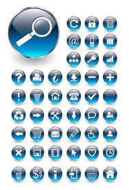 Icônes Web pour des affaires et de bureau bleu aqua, de vecteur