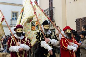Oristano Sardinia Italy - February 17 2015: Tamburini during the festival of Sartiglia. Oristano Sardinia Italy.
