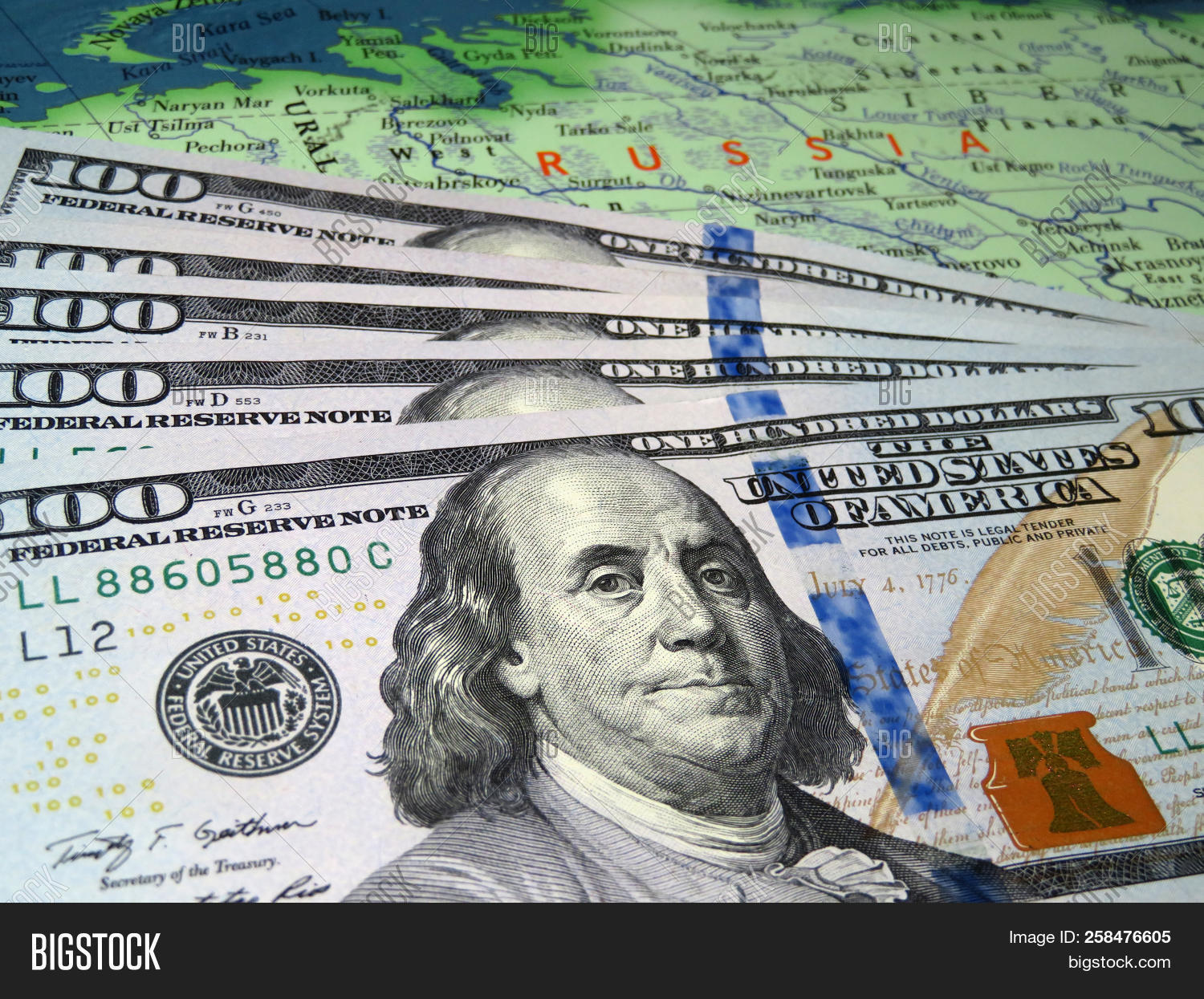 Us Dollars On The Map Of Russia Russian Economy Exchange Rate Concept American