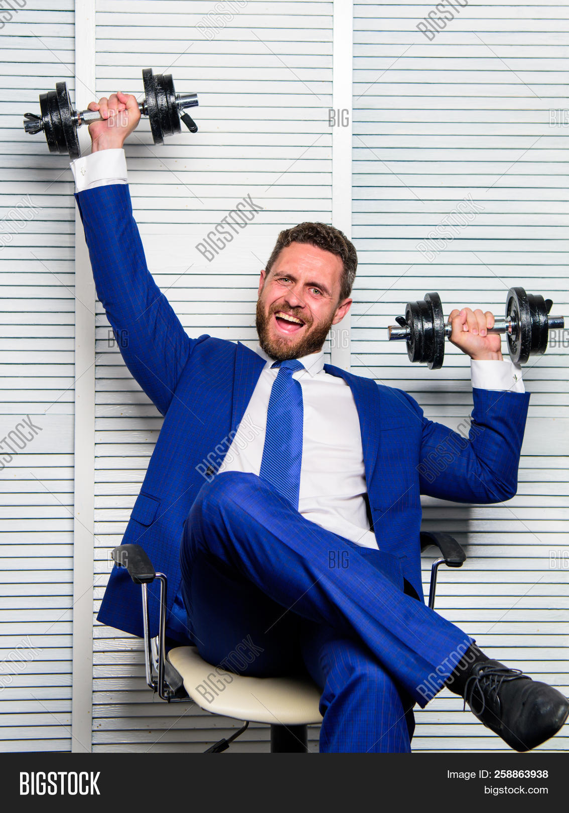 b47daab22551 Boss businessman manager raise hands with dumbbells. Sport healthy  lifestyle. Successful in sport and business