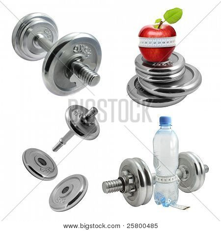 Set of dumbbells high resolution isolated on white