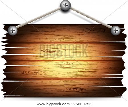 Vector old wooden board hanging.