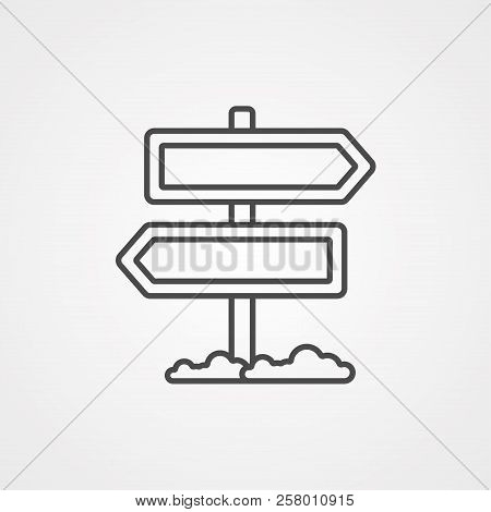 Wood Post Sign Icon. Cartoon Of Wood Post Sign Vector Icon For Web Design Isolated On White Backgrou