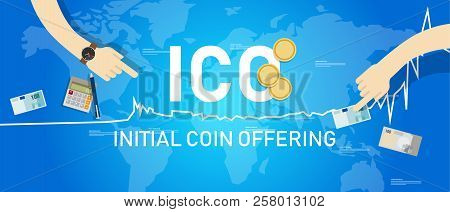 Ico Blockchain Technology, Initial Coin Offering. Vector Illustration Of First Release In Trading Ma
