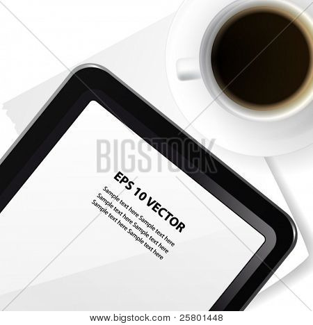 Tablet pc and coffee cap vector