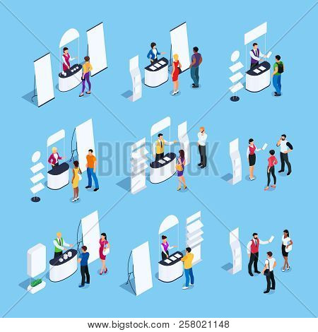 Isometric Set Of Promotional Stands With Promoters And Customers. Blank Mockup. Vector Illustration.