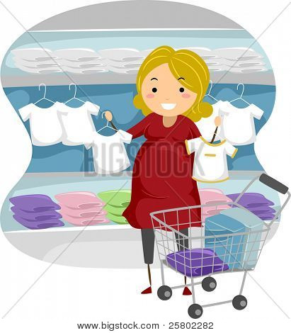 Illustration of a Mother-to-be Shopping for Baby Clothes