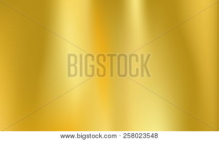 Gold Or Golden Foil Background. Vector Metal Holographic Texture With Abstract Iridescent Gradient