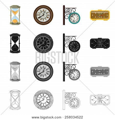 Vector Illustration Of Clock And Time Sign. Set Of Clock And Circle Stock Vector Illustration.