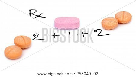 Physician Prescription Written Rx With With Medicine On A Paper