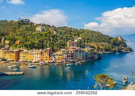 Portofino, Italy, April 8, 2017 - Panoramic View Of Portofino, An Italian Fishing Village, Genoa Pro