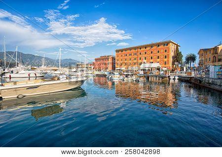 Santa Margherita Ligure, Italy,  April 8, 2017 -  View Of Santa Margherita Ligure, Genoa, From The H