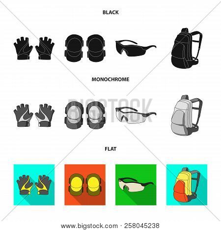 Gloves, Elbow Pads, Goggles, Cyclist Backpack.cyclist Outfit Set Collection Icons In Black, Flat, Mo