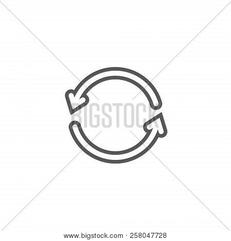 Black And White Simple Vector Line Art Icon Of Two Update Arrows