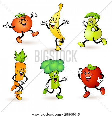 fruit and vegetable characters poster