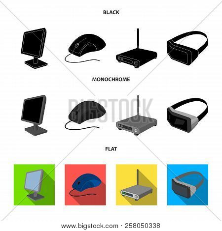 Monitor, Mouse And Other Equipment. Personal Computer Set Collection Icons In Black, Flat, Monochrom