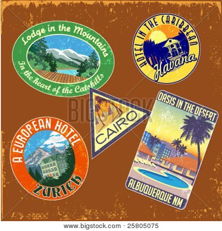 vintage travel stickers vector set