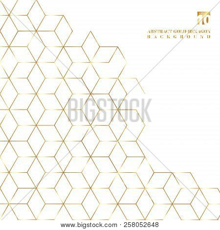Gold Hexagons Border Pattern On White Background. Geometric Shapes Golden Color Elements Template Fo