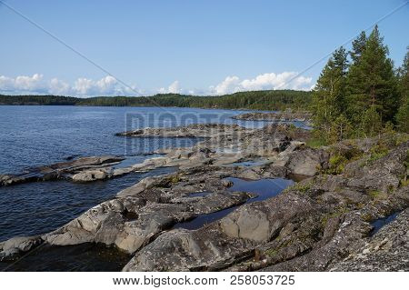 Rocky Shore Of The Lake, On The Shore Of Pine Trees, Moss. Clear Sunny Day. Late Summer, Early Autum