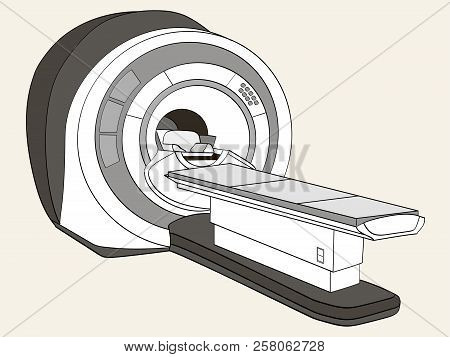 scanner computerized tomography scanner , magnetic resonance imaging machine, medical equipment. Object Shades of gray poster