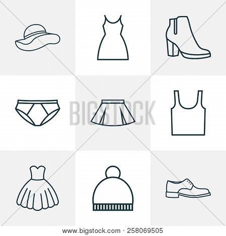 Dress Icons Line Style Set With Dress, Men Footwear, Elegant Headgear And Other Pompom Elements. Iso