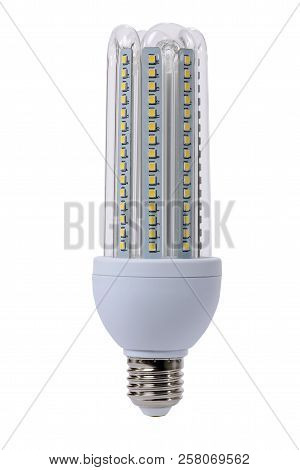 Led Lamp With Opaque Glass Bulb And E27 Socket. White Background.
