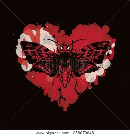 Vector Graphic Illustration Of A Butterfly Dead Head With A Skull-shaped Pattern On The Thorax. Blac