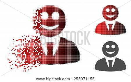 Glad Boss Icon In Sparkle, Dotted Halftone And Undamaged Solid Versions. Cells Are Composed Into Vec