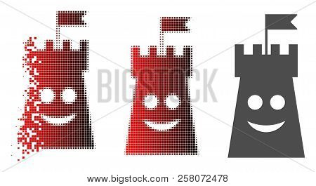 Happy Bulwark Tower Icon In Dispersed, Dotted Halftone And Undamaged Solid Versions. Points Are Grou
