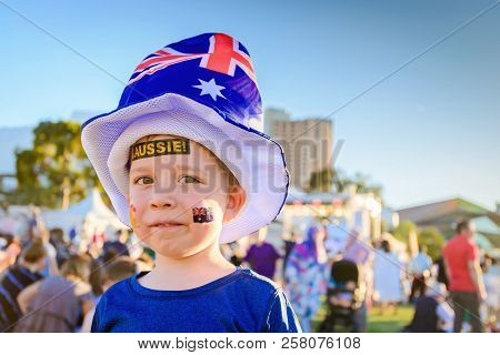 Cute Australian Boy With Aussie Tattoos On His Face On Australia Day Celebration In Adelaide