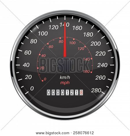 Speedometer. Kilometers And Miles. Black Car Dashboard Gauge. Vector 3d Illustration Isolated On Whi