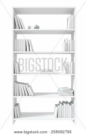White bookcase with many white books on bookshelves isolated on white under direct light, colorless bleached 3D illustration poster
