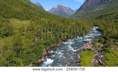 Aerial view of Beautiful mountain river near Trollstigen in Norway, Scandinavia poster