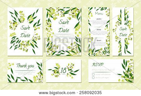 save the date card templates set with greenery decorative floral and herbs element vintage botanical illustration with eucalyptus