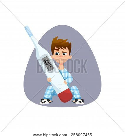 Little Ill Boy With Messy Hair Watching Angry On Thermometer  With Hight Temperature. Kid With The F