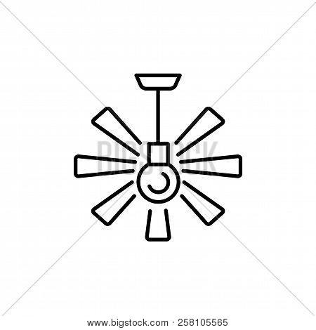 Vector Illustration Of Ceiling Fan. Line Icon Of Modern Light Fixture & Ventilator. Home & Office Li