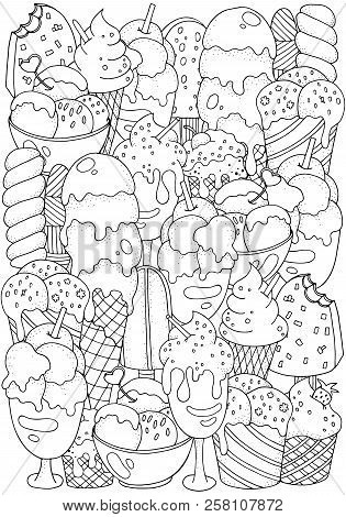 Coloring Book Page. Set Of Vector Sketches: Ice Cream In Wafer Cone And Bowl, Frozen Creamy Desserts