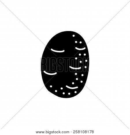 Black & White Vector Illustration Of Whole Unpeeled Potato Vegetable. Flat Icon Of Fresh Organic Pot