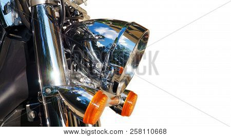 Close-up On The Front Of The Motorcycle: Reflector And Blinkers.