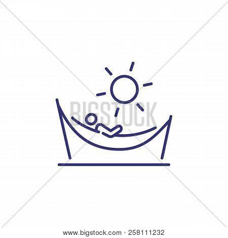 Person In Hammock Line Icon. Beach, Sun, Resort. Sunbathing Or Vacation Concept. Vector Illustration