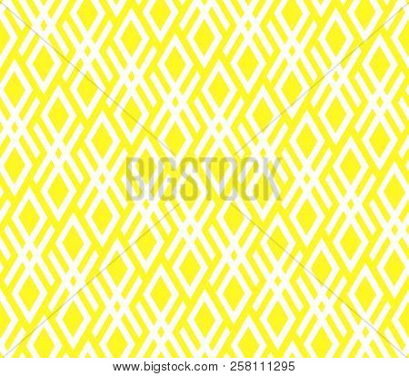 Abstract Geometric Pattern. A Seamless Vector Background. White And Yellow Ornament. Graphic Modern