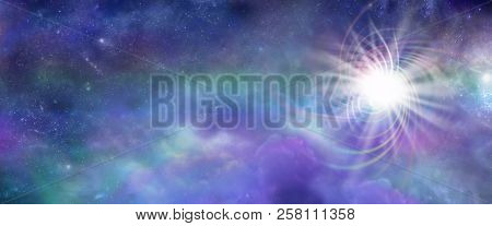 Massive Deep Space Cosmic Energy Event - Wide Panel Of Cosmic Purple And Jade Clouds,  Stars, Planet