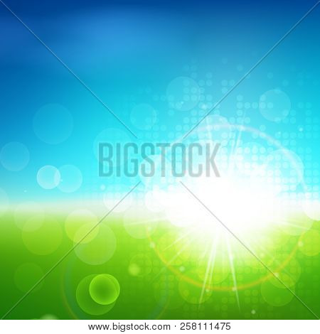 Sunny Bright Green Blue Vector Background, Green Natural Eco Technology, Green Energy, Spring And Su